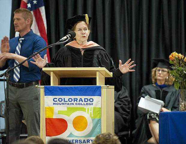 Donna Lynne, lieutenant governor of Colorado, was the commencement speaker at Colorado Mountain College's nursing graduation and pinning ceremony at the Spring Valley campus in Glenwood Springs on Saturday, May 6.