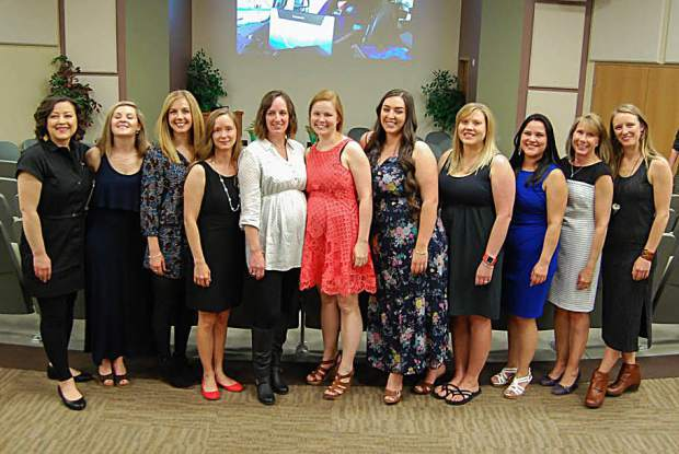The graduating class of 2017 from Colorado Mountain College's nursing program in Summit County held their traditional pinning ceremony on Friday, May 5, at the Eileen & Paul Finkel Auditorium at CMC Breckenridge. From left to right: Jessica Amos, Jessa Brown, Kara Peterson, Joanie Yapkowitz, Katherine Hansen, Jane Lettovska, Elaina Teter, Kristena Baakko, Viviana Baray, Christine Murray and Alexandra Drake (not pictured: Rachel Scholars).