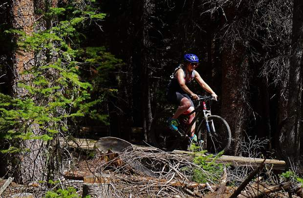 Rebecca Spiro on Middle Flume trail, Breckenridge.