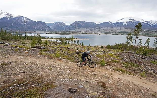Riechel's Ride singletrack on the Frisco Peninsula trail system in late May, with views of Buffalo Mountain (right) and Peak One (left).