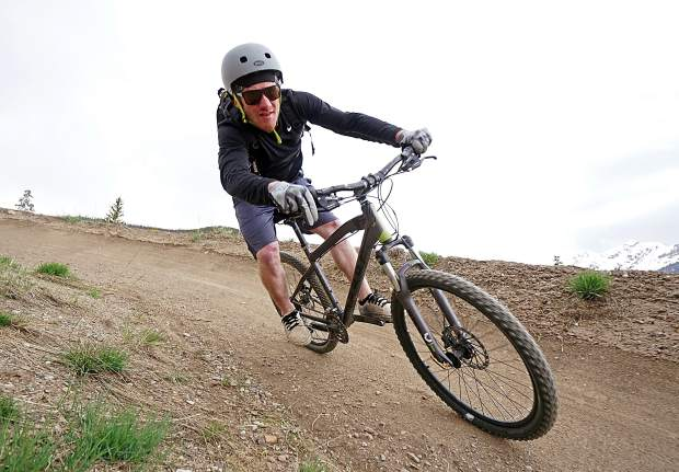 The Frisco bike park green line berms in late May.