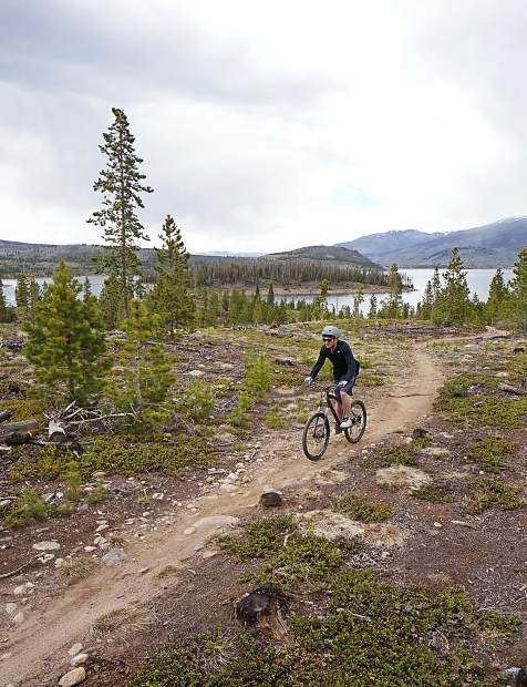 The Frisco Peninsula trail system in late May, surrounded by Lake Dillon and views of the Tenmile and Gore ranges.