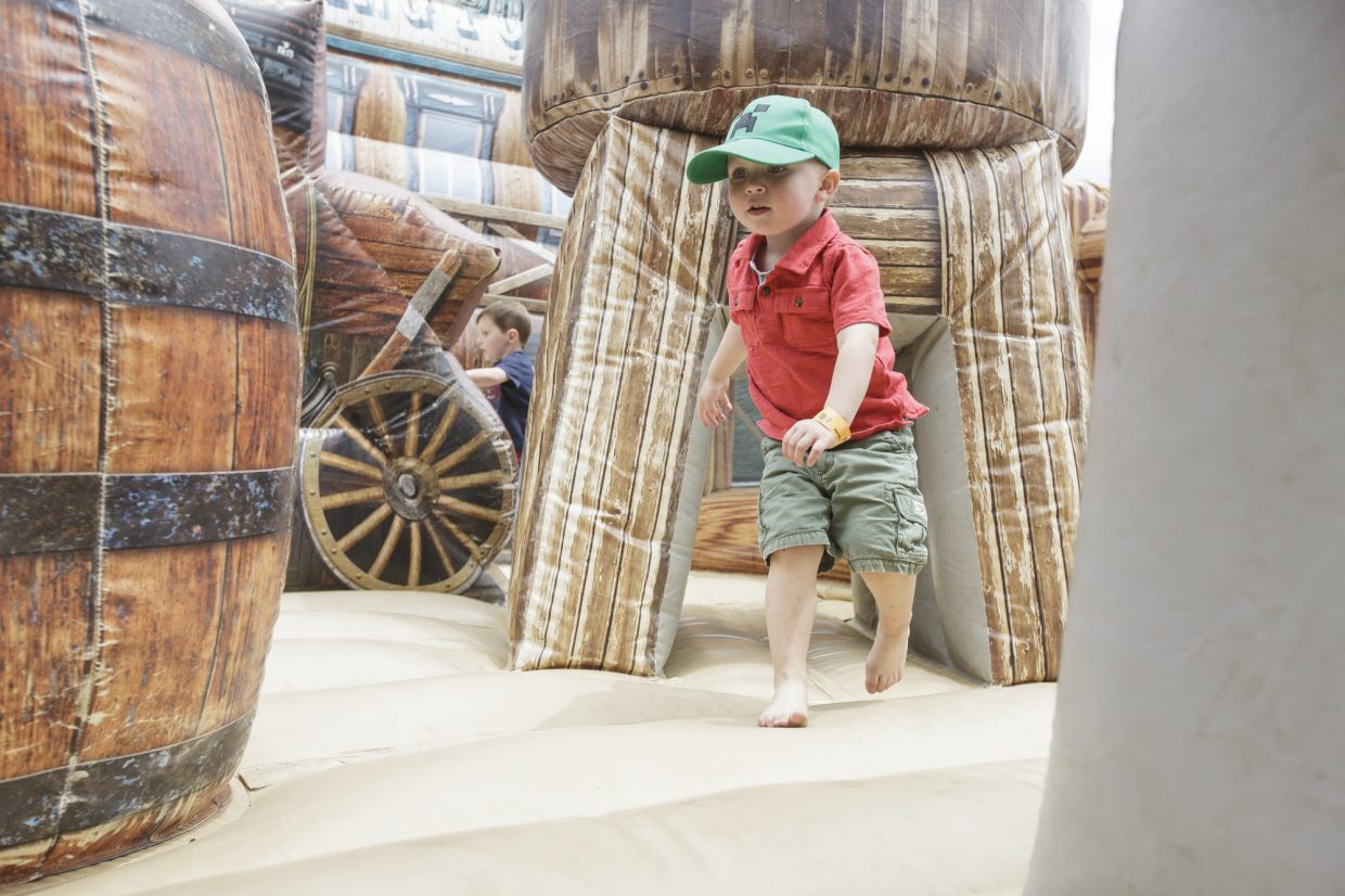 Weston Pruchaska, 2, explores
