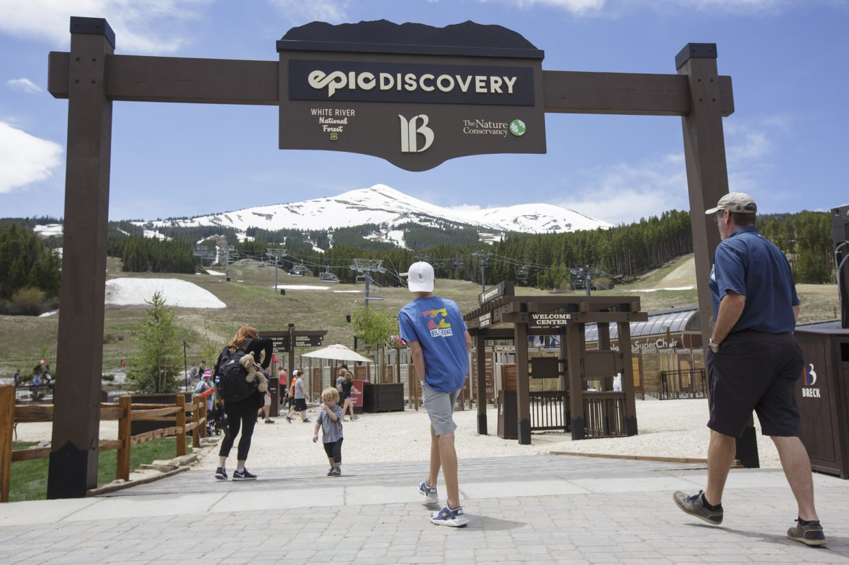 Epic Discovery summer theme park entrance at Peak 8 base Friday June 9, on Breckenridge Ski Resort.