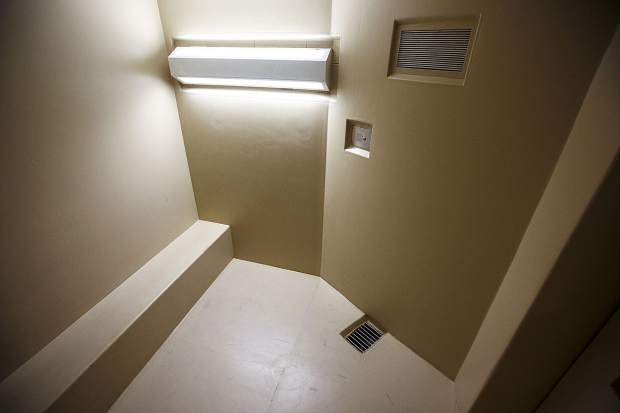 Inside a holding cell at the Summit County Jail Wednesday May 31, 2017, in Breckenridge.