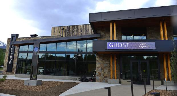 A marquee sign advertises upcoming performances at the Silverthorne Performing Arts Center on Wednesday. A grand-opening celebration for the new $9 million is set for Saturday.