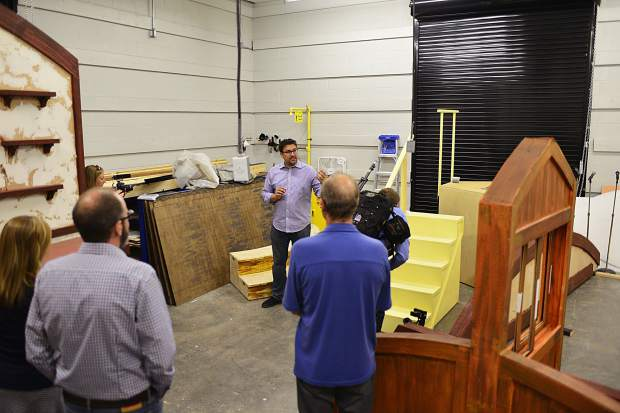 A workshop area gives the Little Dillon Theatre Company the space it needs to build sets and props at the Silverthorne Performing Arts Center. The room also has a loading dock, allowing workers to easily take their projects outside when necessary.