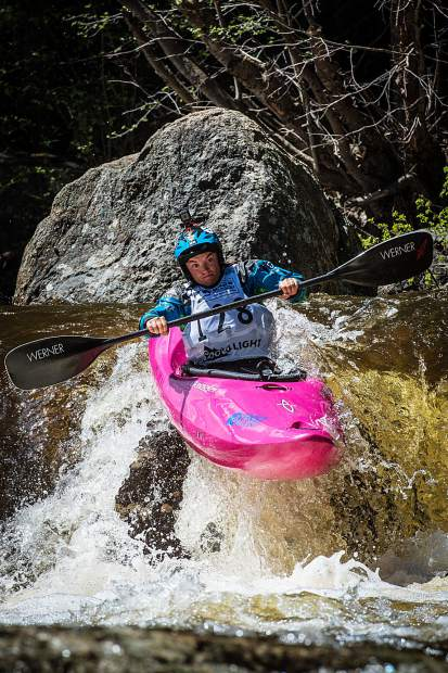 Kayaker Adrienne Levknecht participates in the GoPro Mountain Games, placing second in the women's division.