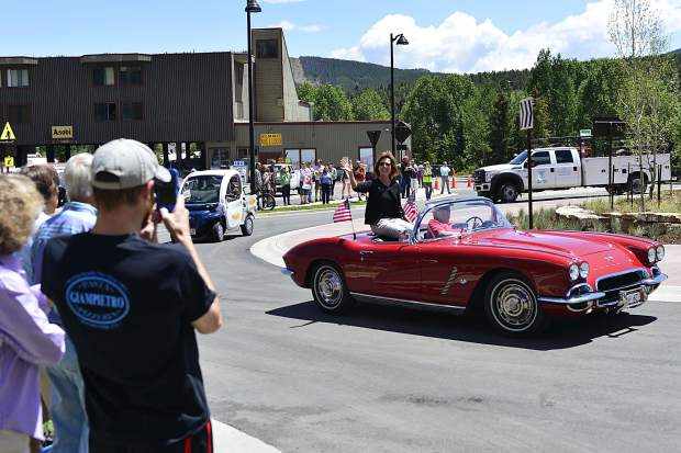 State Rep. Millie Hamner takes a spin around the new Four O'clock Roundabout in Breckenridge after a ribbon-cutting ceremony to open the busy Breckenridge intersection on Friday.