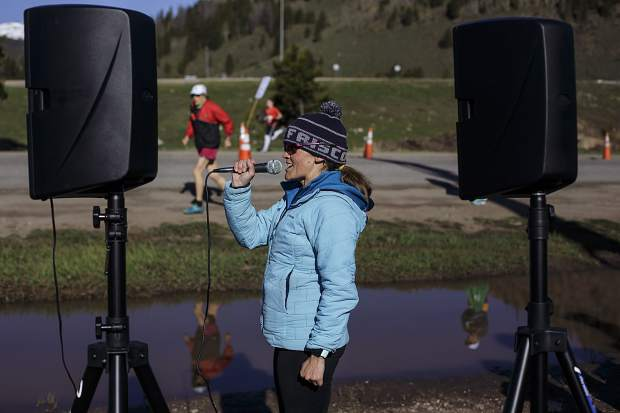 Run the Rockies race official Joyce Linsey makes a pre-race announcement for the participants at the starting line at Copper Mountain Saturday June 3, 2017.