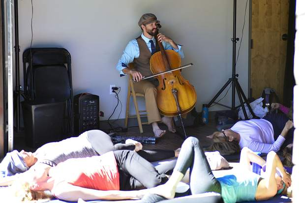 """An 8:30 a.m. yoga session, complete with a live cellist, ensues in the smallest of three indoor performance spaces at the new Silverthorne Performing Arts Center called """"The Lab"""" to kick off a daylong schedule of events to celebrate the grand-opening of the new $9 million facility."""