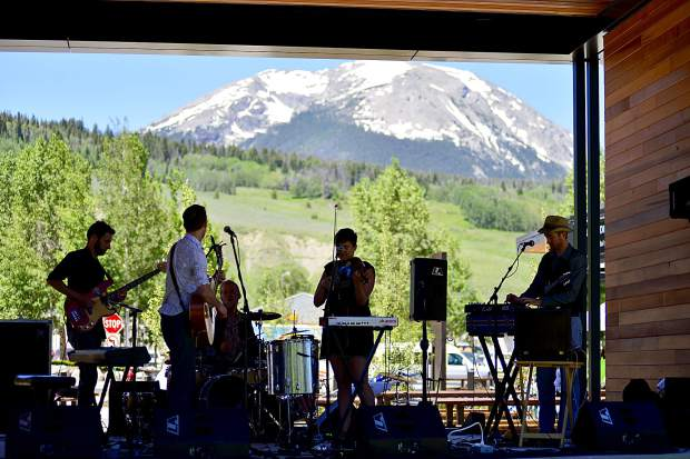 The Chimney Choir band performs Saturday on the stage outside the Silverthorne Performing Arts Center during a grand-opening celebration for the new $9 million facility.