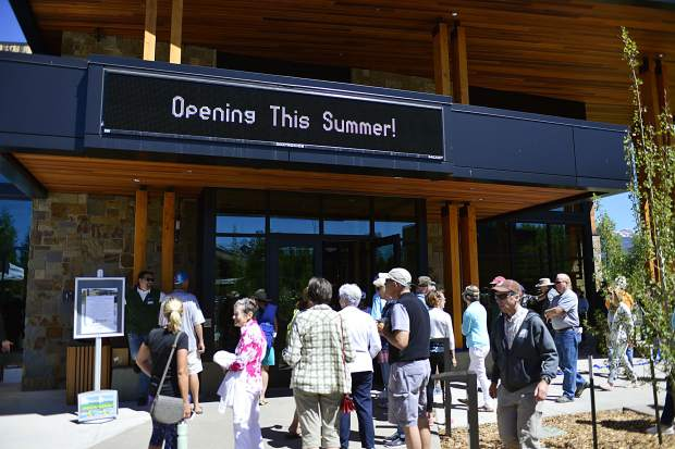 People take their first steps inside the new Silverthorne Performing Arts Center on Blue River Parkway during a Saturday grand-opening and ribbon-cutting ceremony.