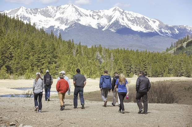 A field trip group led by Summit County's Open Space & Trails Department staff walks along the restoration project of the Swan River Wednesday, June 14, near Breckenridge.