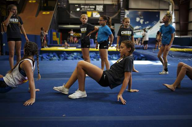 Woodward cheerleading campers warm up for a day session Wednesday, June 28, at Copper Mountain.