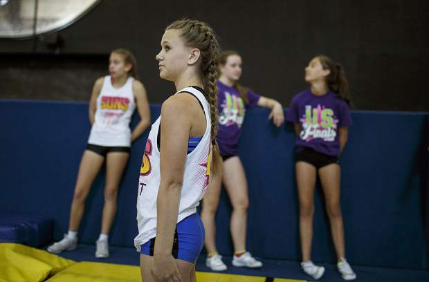 Woodward cheerleading campers run a few practice drills ahead of a full-session Wednesday, June 28, at Copper Mountain.