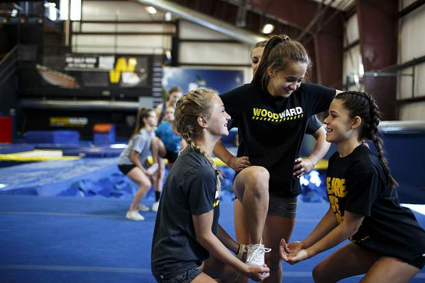 Woodward cheerleading campers practice a few drills during a session Wednesday, June 28, at Copper Mountain.