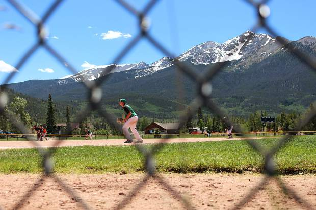 The Black Diamonds infield gets into position during the first game of Saturday's doubleheader against the Eagle Valley Eagles. Summit lost the game 3-14 on the ten-run rule.