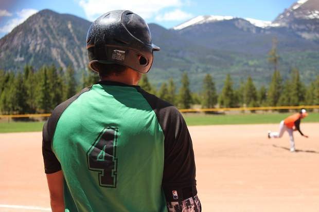 Joshua Dolan (4) out of Eastern New Mexico University waits on-deck in the first game Saturday against the Eagle Valley Eagles.