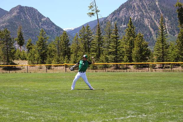 Nate English (11) out of Big Bend Community College throws the ball in after making a catch during Saturday's first game against the Eagle Valley Eagles.