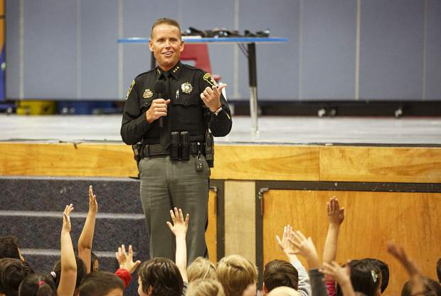 Summit County Sheriff Jaime FitzSimons speaks during an event at Dillon Valley Elementary School Wednesday, May 31, 2017, in Dillon.