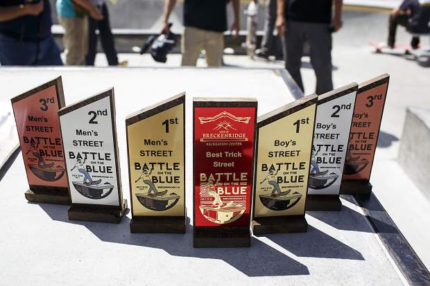 Awards for the Battle On The Blue skateboard competition winners Saturday, July 22, at the Breckenridge Skate Park in Breckenridge.