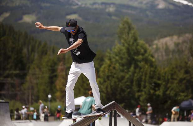 A rider grinds a rail during the Battle On The Blue skateboard competition Saturday, July 22, at the Breckenridge Skate Park in Breckenridge.