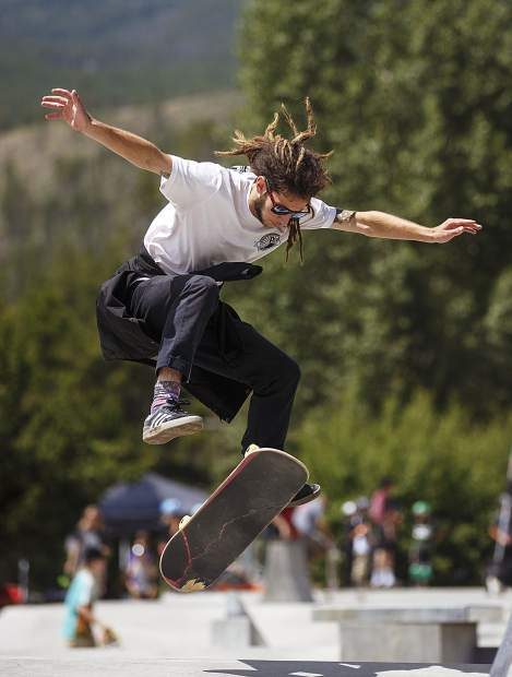 Josh Lirgullbach performs a midair trick during the Battle On The Blue skateboard competition Saturday, July 22, at the Breckenridge Skate Park in Breckenridge.