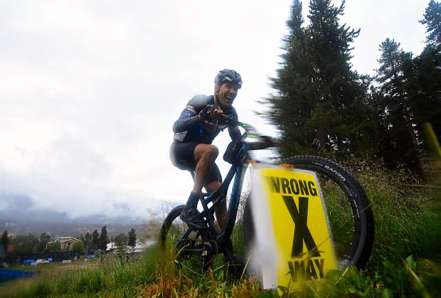 A rider leaves Carter Park in Breckenridge for loop two on the Colorado Trail during the Breck 100 on July 29. The event drew nearly 300 riders from across the world for 32, 68 and 100 mioles of riding in constant rain and chilly temperatures.