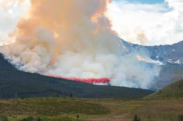 An air attack works to quell the Peak 2 fire in Breckenridge on Wednesday, July 6.