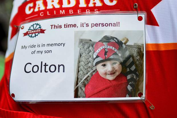 Sam Gibson rode Saturday at the Courage Classic with this picture of his son, Colton, fixed to the back of his shirt. Sam and Britney Gibson's son died three months after he was born due to a heart condition.