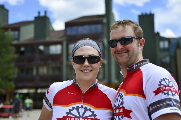 Britney and Sam Gibson pose for a photo after finishing a 40-mile bike ride at the Courage Classic on Saturday.