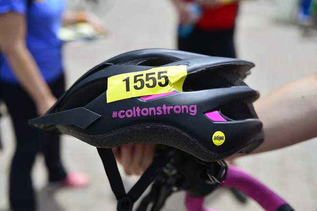 The helmet Britney Gibson wore Saturday for a 40-mile bike ride as part of the Courage Classic pays homage to her son, Colton, who died at three months old due to a heart condition.