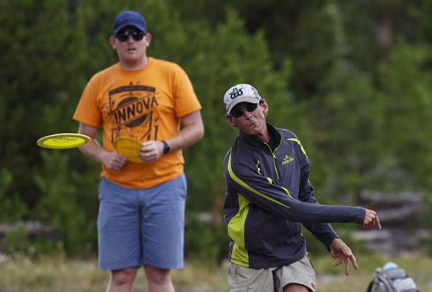 Peak One Championships competitor Markus Alt, of Longmont, pulls the disc during a round Friday, July 28, in Frisco.