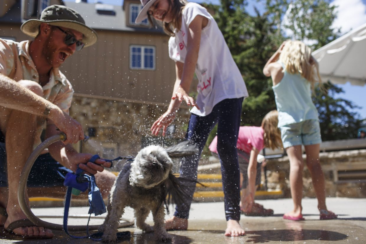 Ralphie rinses off water followed by a bath by Mountain Top Camp student Keely Cronin with help from camp employee Dave Seal, left, during a fundraiser Wednesday, July 19, at the Main Street Station in Breckenridge.