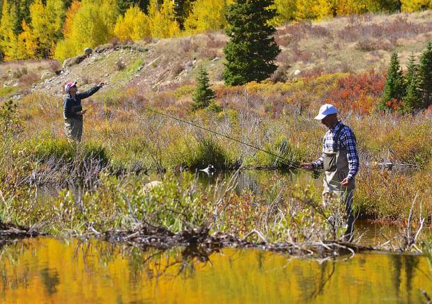 Donna (left) and Jon Ventura of Los Alamos, New Mexico practice casting technique on a marshy stretch of the South Platte River just outside of Alma on Sept. 16. Autumn is peak season for brown trout on Colorado waterways.