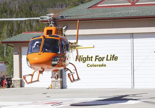 The Flight For Life helicopter takes off from its helipad at St. Anthony Summit Medical Center in Frisco on Sunday, July 2. Monday marks the two-year anniversary of the life-saving copter's crash near the site in 2015 that killed pilot Patrick Mahany and critically injured two flight nurses, Dave Repsher and Matthew Bowe.
