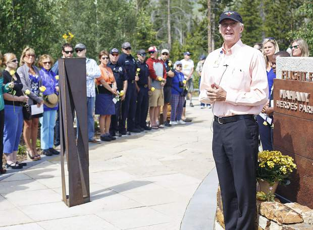 Paul Chodkowski, CEO of St. Anthony Summit Medical Center, led a service on Monday morning, July 3, at the Flight For Life memorial in Frisco next to the hospital. Monday marked the two-year anniversary of the accident that killed pilot Patrick Mahany and critically injured flight nurses Matthew Bowe and Dave Repsher.