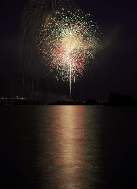 Fireworks over the Dillon Reservoir Wednesday, July 4, in Frisco.