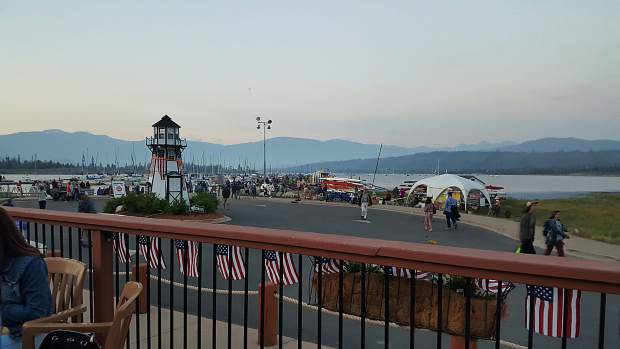 Looking across the parking lot to the Frisco Bay Marina on Fourth of July