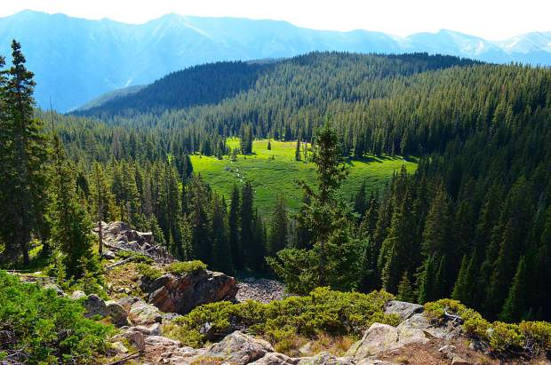 A beautiful alpine meadow view from the first day thru-hiking the Gore Range Trail.