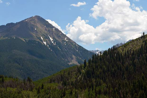 Some of the stunning mountaintops seen from Black Lake and Black Lake Reservoir from the Gore Range Trail.