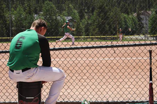 Designated hitter Nick Henry out of College of the Canyons watches on as Summit High grad Andrew Shaw pitches in the seventh inning of Thursday's first game against the Grand Junction Rocky Mountain Oysters.