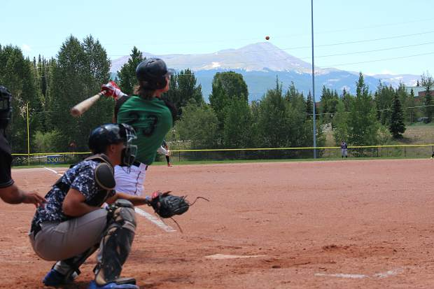 Summit's Andrew Ryalls connects with a pitch in the bottom of the first inning in Thursday's first game against the Grand Junction Rocky Mountain Oysters.
