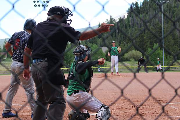 The homeplate umpire calls a strike for Summit starter Ben Wiley out of Volunteer State Community College during Thursday's action against the Grand Junction Rocky Mountain Oysters.