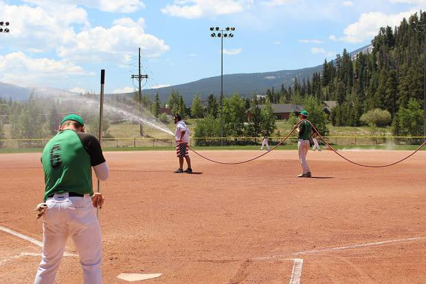 The Summit Extreme Black Diamonds put in some work getting the Kingdom Park field in Breckenridge ready for the Fourth of July baseball.