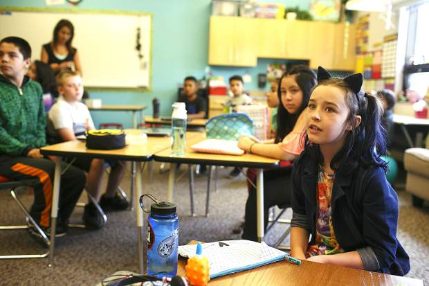 In class Thursday morning, Aug. 24, at Silverthorne Elementary during the first day.