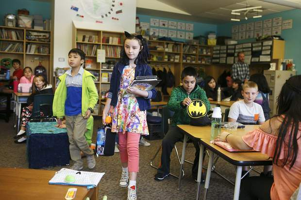 Kyah Quam looks for her proper seat during her first day of school at Silverthorne Elementary on Thursday. Students in Mrs. Liz McFarland's class employ an innovative flexible seating model.