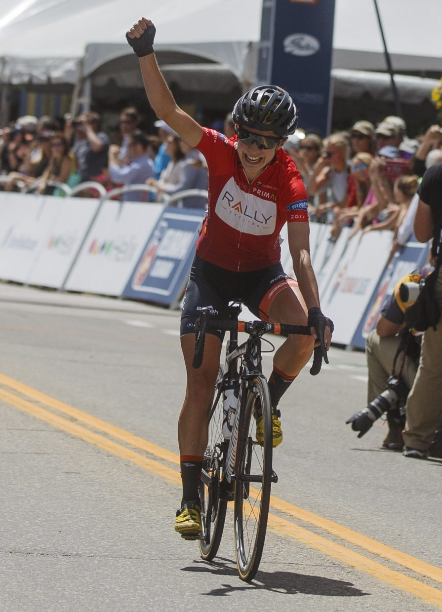 Sara Poidevin (Rally) places first for women in the Colorado Classic's Stage 2 race through Breckenridge's Main Street Friday, Aug. 11.