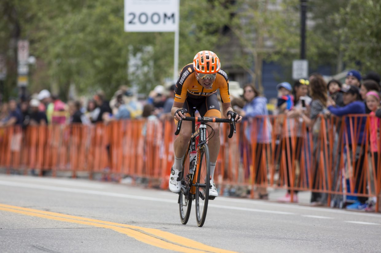 A road cyclist races through Main Street in the Colorado Classic's Stage 2 race in Breckenridge Friday, Aug. 11.